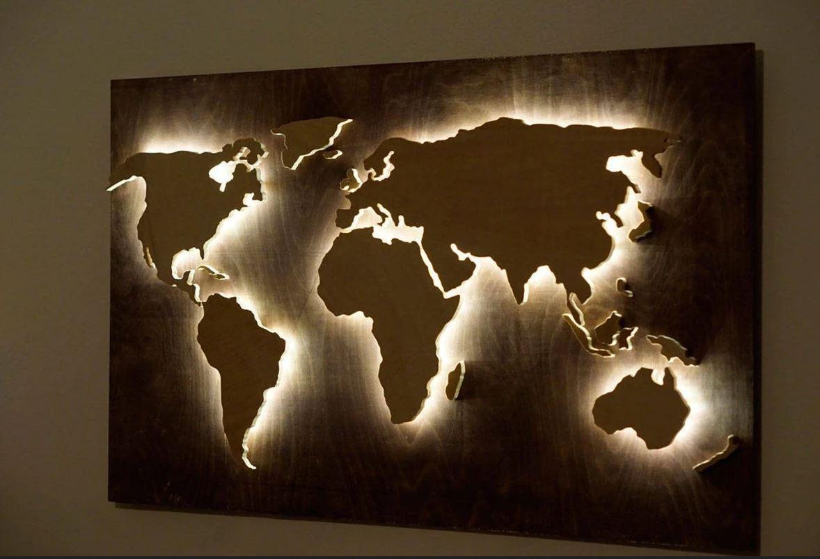 carte en bois decoration chambre